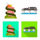 Vector Design Of Journey And Exotic Symbol. Collection Of Journey And National Vector Icon For Stock poster