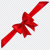 Beautiful Red Bow With Diagonally Ribbon With Shadow On Transparent Background poster