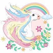Unicorn Face. Beautiful Pony Unicorns Faces, Magic Horn In Rainbow Flower Wreath And Pony Cute Eyela poster