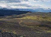 Icelandic Lava Desert Landscape With View On Tindfjallajokull Glacier And Bending Footpath. Fjallaba poster