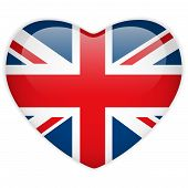 United Kingdom Flag Heart Glossy Button