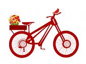 red bicycle with bird and basket of flowers