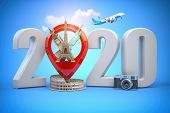 2020 Happy new year. Number 2020 and pin with most popular landmarks of the world. New year celebrat poster