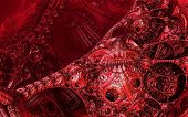 Abstract background, fantastic 3D structures, dark and bloody fictional background. poster
