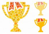 Award Bowl Mosaic Of Irregular Pieces In Various Sizes And Color Hues, Based On Award Bowl Icon. Vec poster