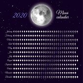 Planner Of Lunar Cycles At 2020 Year. Daily Moon Phases Calendar. Dates For Full, New And Every Phas poster