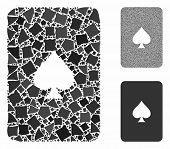 Peaks Playing Card Mosaic Of Abrupt Pieces In Variable Sizes And Color Tints, Based On Peaks Playing poster