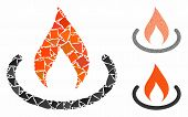 Fire Place Mosaic Of Irregular Items In Various Sizes And Color Tones, Based On Fire Place Icon. Vec poster