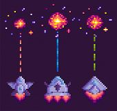 Spaceship Shooting, Explosion Of Object, Invaders And Cosmic Sign On Purple, Video And Pixel Game, R poster