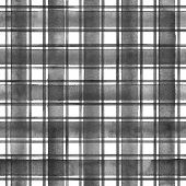Watercolor Stripe Plaid Seamless Pattern. Black Gray Stripes On White Background. Watercolour Hand D poster