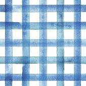 Watercolor Stripe Gingham Plaid Seamless Pattern. Blue Stripes On White Background. Watercolour Hand poster