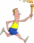image of flambeau  - A man runs with torch vector - JPG