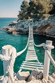 Rope Bridge Over A Cliff In Punta Christo, Pula, Croatia - Europe. Travel Photography, Perfect For M poster