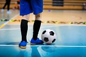 Futsal Junior Player On Indoor Training. Soccer Winter Class At School Indoor Futsal Court. Young Pl poster