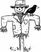 image of scarecrow  - Doodle style sketch of a farm scarecrow with crow or raven in vector illustration - JPG