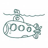 Two Colored Submarine Front View Vector Icon From Army And War. 2 Color Submarine Front View Concept poster