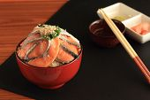 Rice salmon sashimi