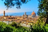 Florence, Italy: View On Old Town With Famous Tourist Attractions Duomo Cathedral Of Santa Maria Del poster