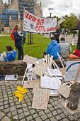 Stacks Of Placards Piled Up At Exeter Cathedral Yard As Part Of The May Day Rally Against The Coalit