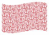 Waving Red Flag Collage. Vector Anchor Items Are Organized Into Mosaic Red Waving Flag Collage. Patr poster