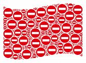 Waving Red Flag Collage. Vector Forbidden Access Design Elements Are Organized Into Mosaic Red Wavin poster