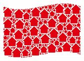Waving Red Flag Collage. Vector House Elements Are Scattered Into Mosaic Red Waving Flag Collage. Pa poster