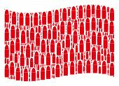 Waving Red Flag Collage. Vector Ammo Bullet Icons Are Grouped Into Geometric Red Waving Flag Collage poster