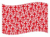 Waving Red Flag Collage. Vector Religious Cross Elements Are Formed Into Mosaic Red Waving Flag Abst poster