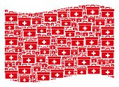 Waving Red Flag Collage. Vector First Aid Toolbox Icons Are United Into Mosaic Red Waving Flag Colla poster