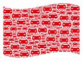 Waving Red Flag Collage. Vector Car Elements Are Placed Into Conceptual Red Waving Flag Collage. Pat poster