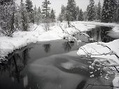 Snowy Landscape With Windy Creek In Whistler British Columbia
