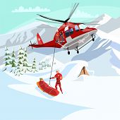 Alpine Rescue Service Flat Vector Illustration. Brave Mountain Rescuers Cartoon Characters. Avalanch poster