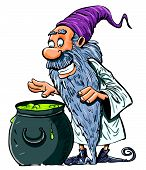 Cartoon Wizard with boiling cauldron