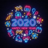 Happy New Year 2020 Neon Icons Set Vector. Merry Christmas Collection Neon Signs. Bright Sign Boards poster
