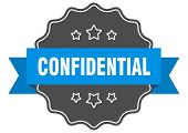 Confidential Blue Label. Confidential Isolated Seal. Confidential poster