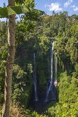 Sekumpul Waterfalls Surrounded By Tropical Forest In Bali, Indonesia. poster