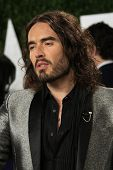 WEST HOLLYWOOD, CA - FEB 24: Russell Brand at the Vanity Fair Oscar Party at Sunset Tower on February 24, 2013 in West Hollywood, California