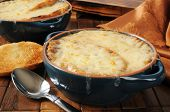 foto of french toast  - A bowl of French onion soup topped with Italian toast and Gruyere cheese - JPG