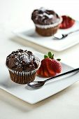 Chocolate Muffins With Strawberries