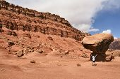 The admired tourist before a grandiose rock from red sandstone. USA