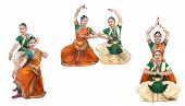 image of bharatanatyam  - beautiful female Bharathanatyam dancers of Tamil nadu in South India - JPG
