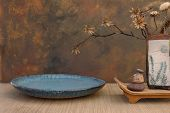 stock photo of raku  - zen spa still life with raku vase - JPG