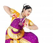 stock photo of bharatanatyam  - attractive female Bharathanatyam dancer of Tamil nadu in South India - JPG