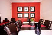 Dining Room Interior With Red Wall