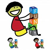 Illustration - Cute Boy(kid) Building Words Using Colorful Blocks. The Graphic Shows Smiling And Hap