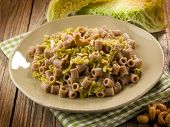 integral pasta with savoy cabbage and cashew nut, vegetarian food