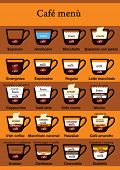 Twenty kind of coffee menu as a table. Ingredients visible. Text in english and italian names for it