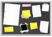stock photo of bulletin board  - Bulletin board with stationery  - JPG