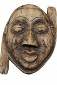 foto of cultural artifacts  - old African statue mask art handmade wooden - JPG