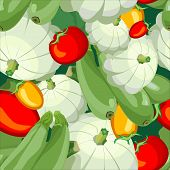 seamless pattern ripe tomato zucchini squash